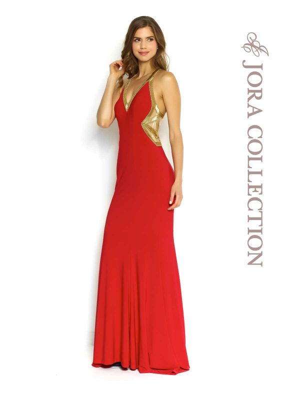 Red full length formal dress