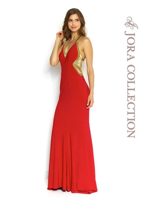 Red full length formal dress