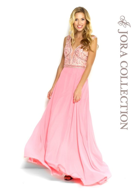 63854 Pink prom dress